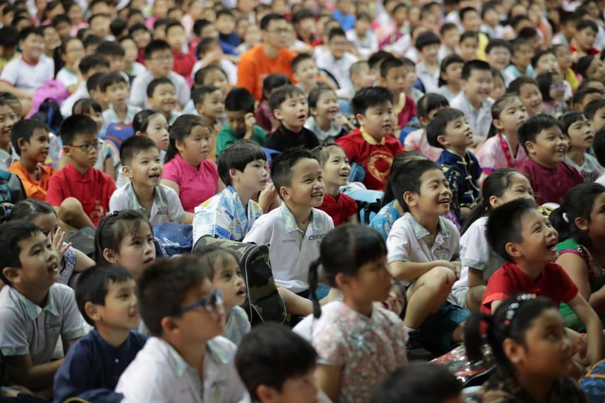 Students from Westwood Primary School celebrating Racial Harmony Day.