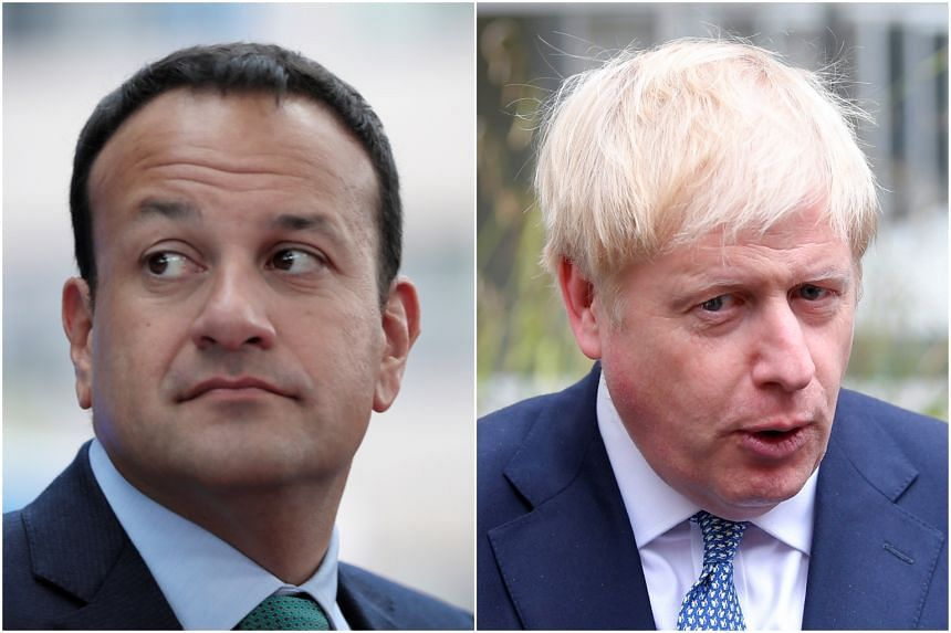 """In a phone call with Irish Prime Minister Leo Varadkar (left), British Prime Minister Boris Johnson (right) promised to lead Britain out of the European Union """"no matter what"""" on Oct 31, 2019."""