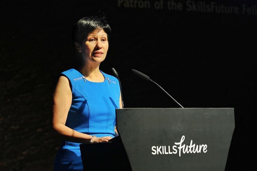 Second Minister for Education Indranee Rajah speaking at the third SkillsFuture Fellowships and SkillsFuture Employer Awards ceremony on July 30, 2019.