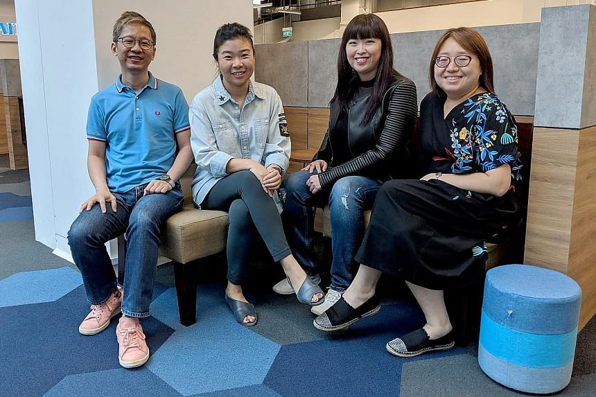 STPodcast Life Picks host Melissa Sim (second from left) with (from left) Boon Chan, Hedy Khoo and Ong Sor Fern.