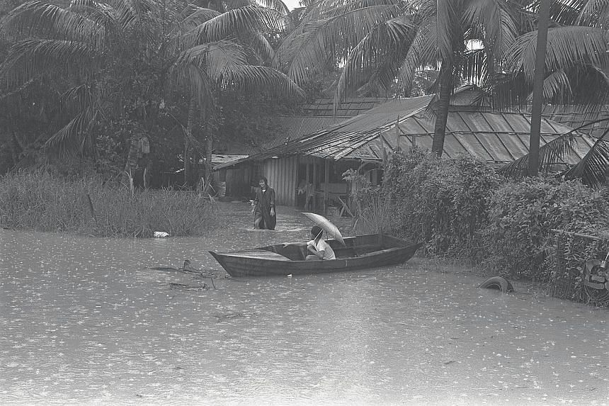 A flooded area near the Kallang River, on the fringe of Kampung Potong Pasir, which was an area prone to flooding when Ms Chia lived there.