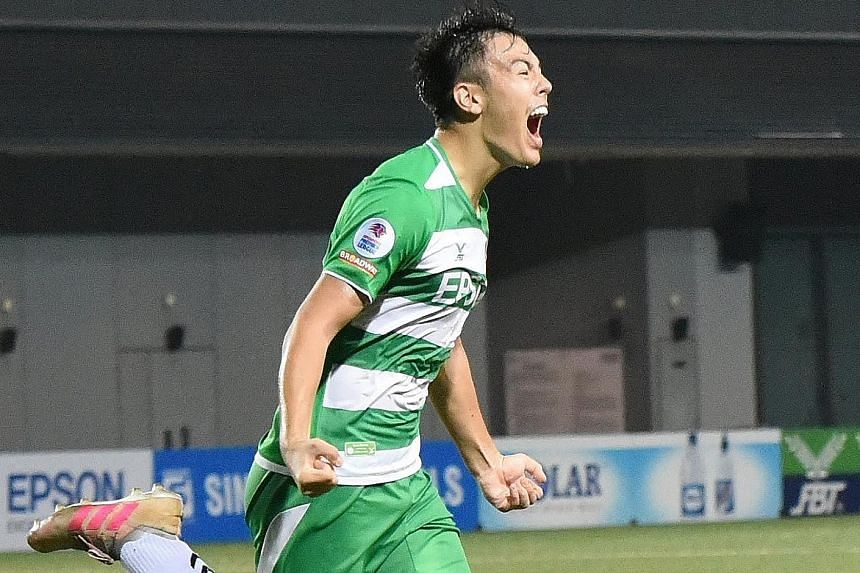 Left: After scoring against Albirex to give Geylang three points last week, Zikos Chua is the youngest player to reach the five-goal mark in local league history at 17 years and 102 days. Below: (From left) Geylang International vice-chairman Thomas