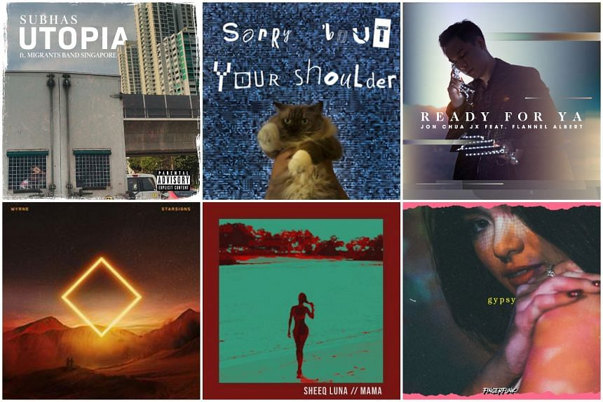 (Clockwise from top left) Utopia by Subhas, Sorry 'bout Your Shoulder by Chloe Ho, Ready For Ya by Jon Chua JX,  Gypsy by Fingerfunk, Mama by Sheeq Luna, and Starsigns by Myrne.