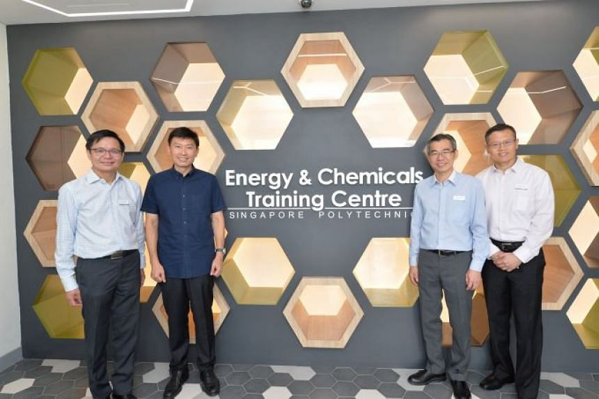 At the launch of the Energy and Chemicals Centre were (from left) Ng Cher Pong, chief executive of SkillsFuture Singapore; Chee Hong Tat, Senior Minister of State, Ministry of Trade and Industry & Ministry of Education; Soh Wai Wah, principal and chi