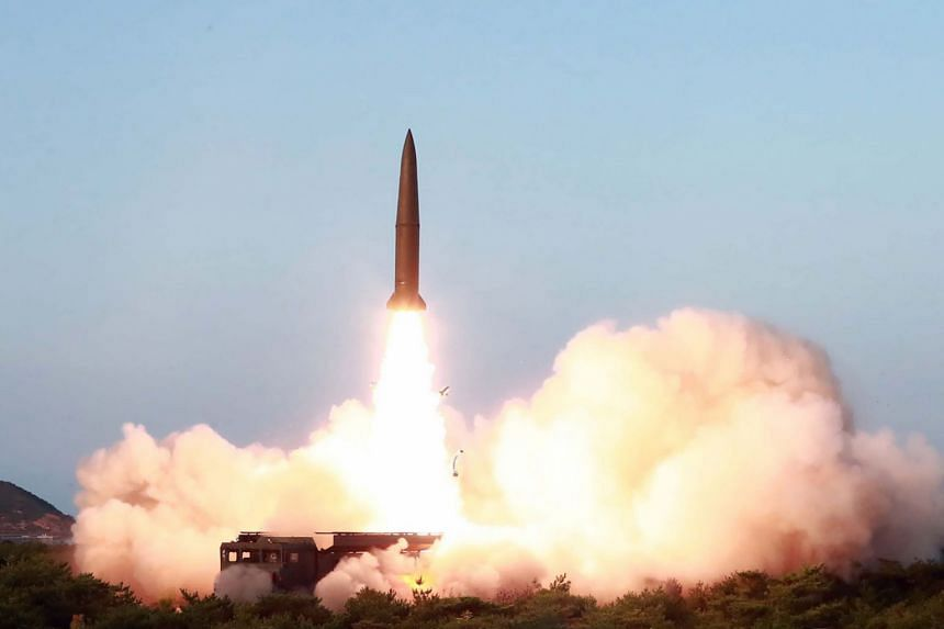 A new-type of tactical guided short-range missile is launched at an undisclosed location in North Korea on July 25, 2019.