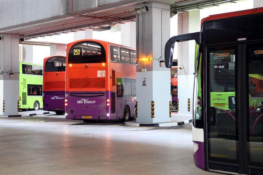 Buses at Joo Koon Bus Interchange.