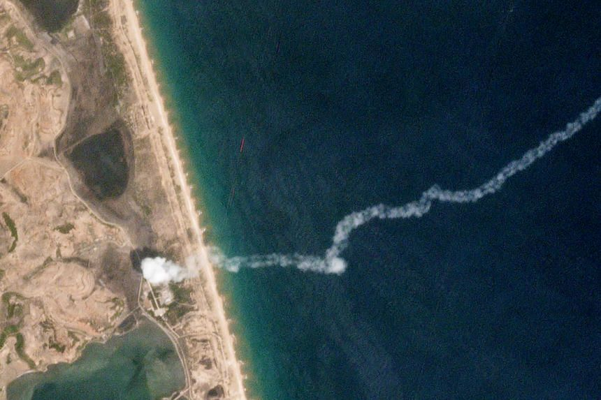 An aerial view of the Hodo peninsula after a short-range ballistic missile test was done in North Korea on May 4, 2019.