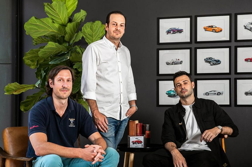 Rally Rd's (above from left) chief financial officer Max Niederste-Ostholt, chief executive Chris Bruno and chief product officer Rob Petrozzo. The New York company sells artwork, luxury items and cars - such as a 1994 Lamborghini Diablo SE30 Jota