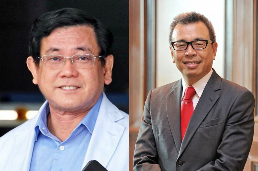 """Mr Peter Tan Shou Yi (left) alleges that Prudential Singapore's former CEO Philip Seah (right), wrongfully induced two agency leaders to give up """"protected information"""" relating to a potential move to Aviva in exchange for benefits."""