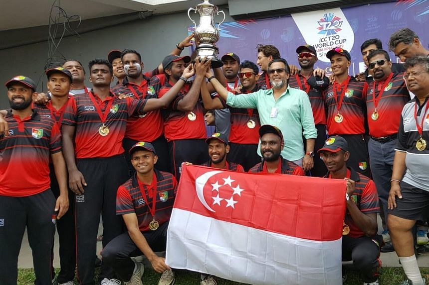 The Singapore cricket team in high spirits after reaching their maiden ICC Men's T20 World Cup qualifiers. They bowled out Nepal to win by 82 runs on Sunday to clinch the regional finals.