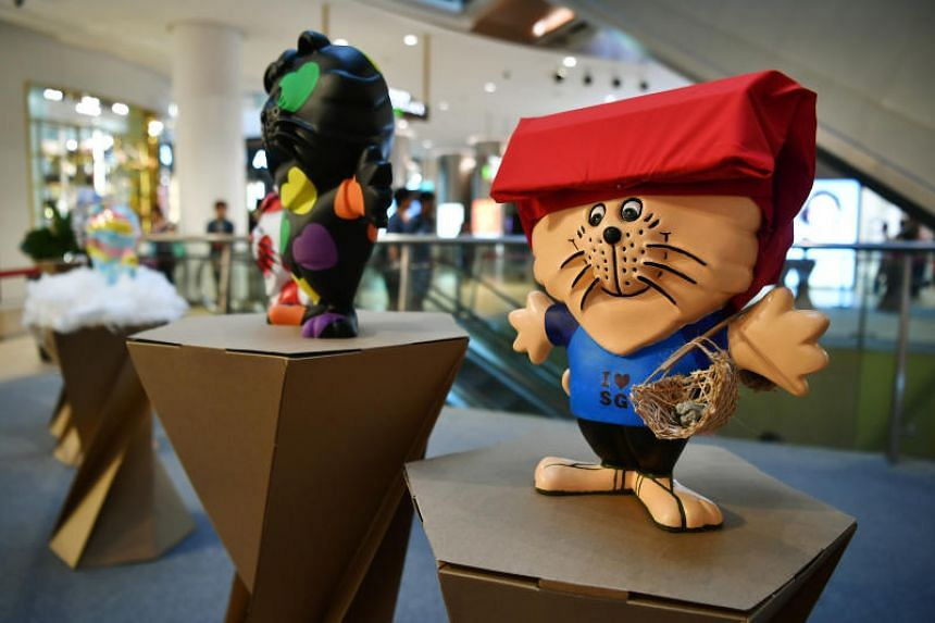 The Arts in the City: We Love SINGApore exhibition at Raffles City shopping mall features 200 figurines of Singa the lion, an iconic mascot here for kindness and graciousness.