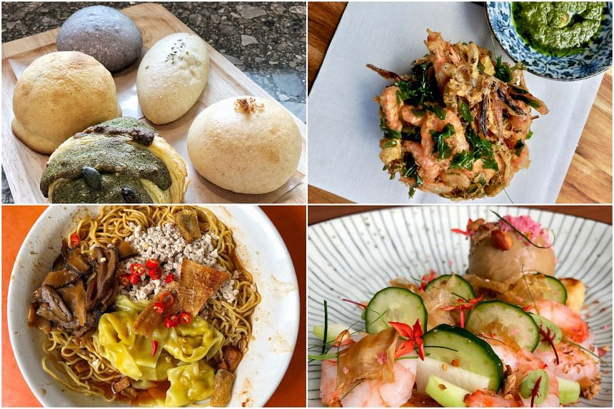 (Clockwise from top left) Buns from Slow Bakes, Fried Flower Fritter from Summer Hill, Aburaage Rojak Salad from Roketto Izakaya and  Minced Meat Noodle from Ah Kow Mushroom Minced Pork Mee.