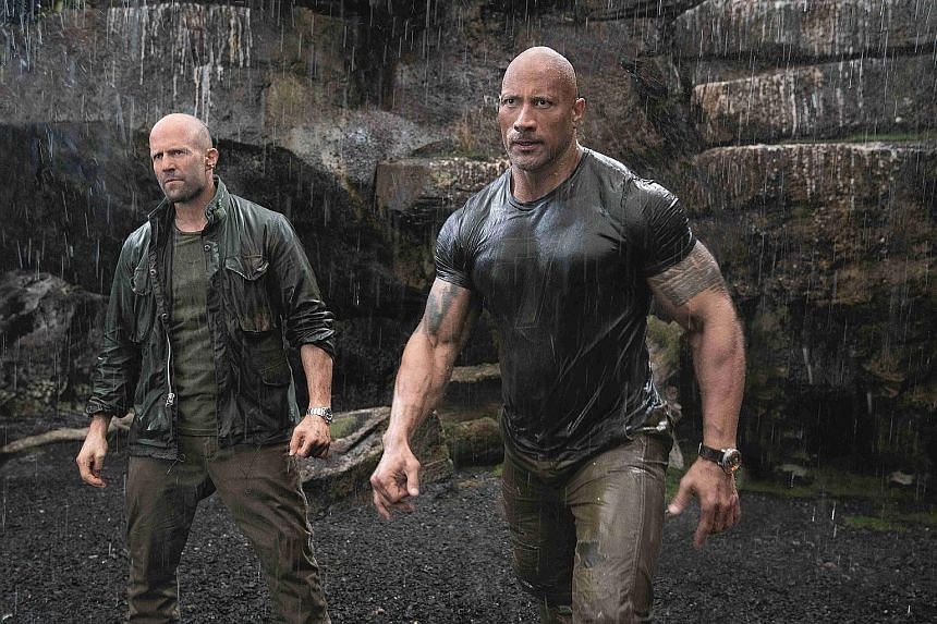 Jason Statham (far left) and Dwayne Johnson play two men who must bury the hatchet to capture an assassin.