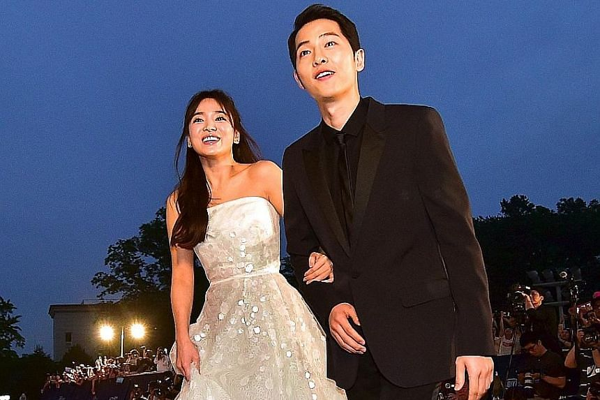South Korean actors Song Hye-kyo and Song Joong-ki (both above) announced their divorce last month, barely two years after tying the knot.