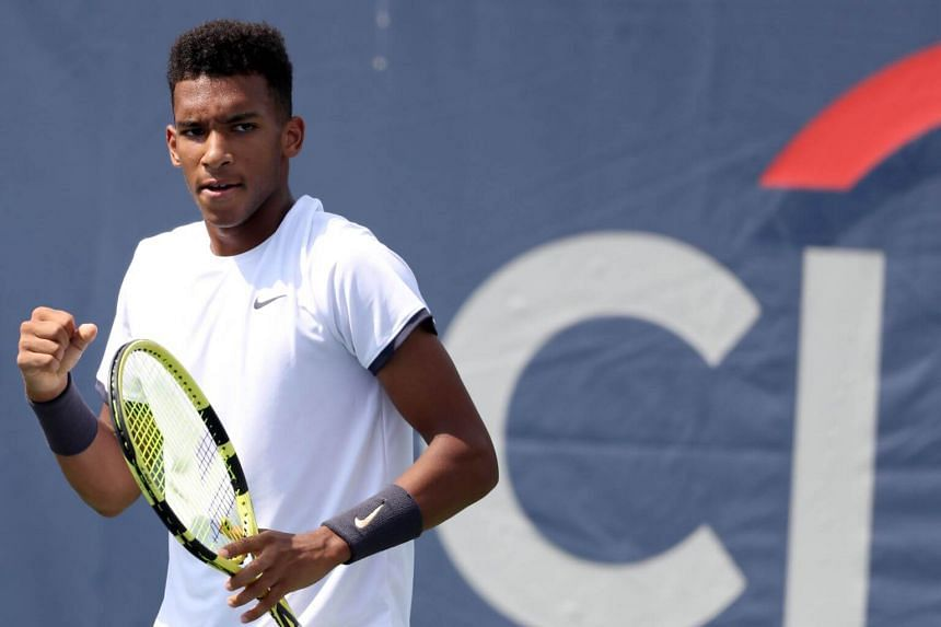 Felix Auger-Aliassime celebrates a point during Day 3 of the Citi Open at Rock Creek Tennis Center in Washington, on July 31, 2019.