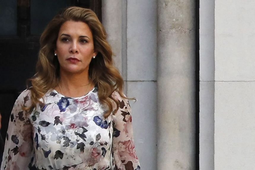 Princess Haya Bint al-Hussein of Jordan leaves the Royal Courts of Justice in London.