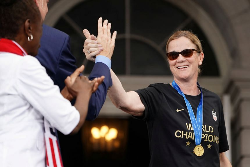 US coach Jill Ellis at a victory parade last month to celebrate her team winning the Women's World Cup. In her 51/2-year tenure, she led her team to two World Cups and became the first coach to win consecutive titles since the tournament began in 199