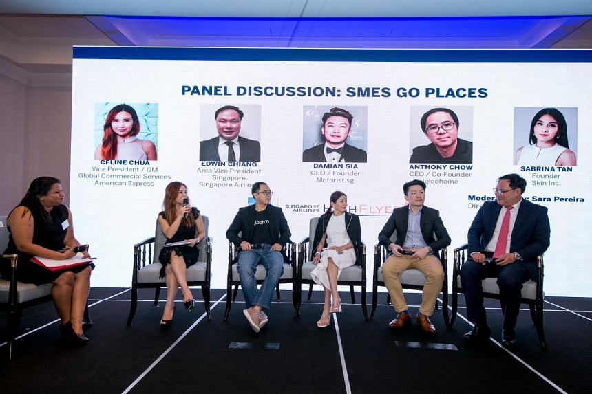 (From left) Panel moderator Sara Pereira, Celine Chua, Vice President and General Manager, Global Commercial Services Singapore, American Express, Anthony Chow, CEO and Co-Founder of Igloohome, Sabrina Tan, Founder of Skin Inc, Damian Sia, CEO and fo