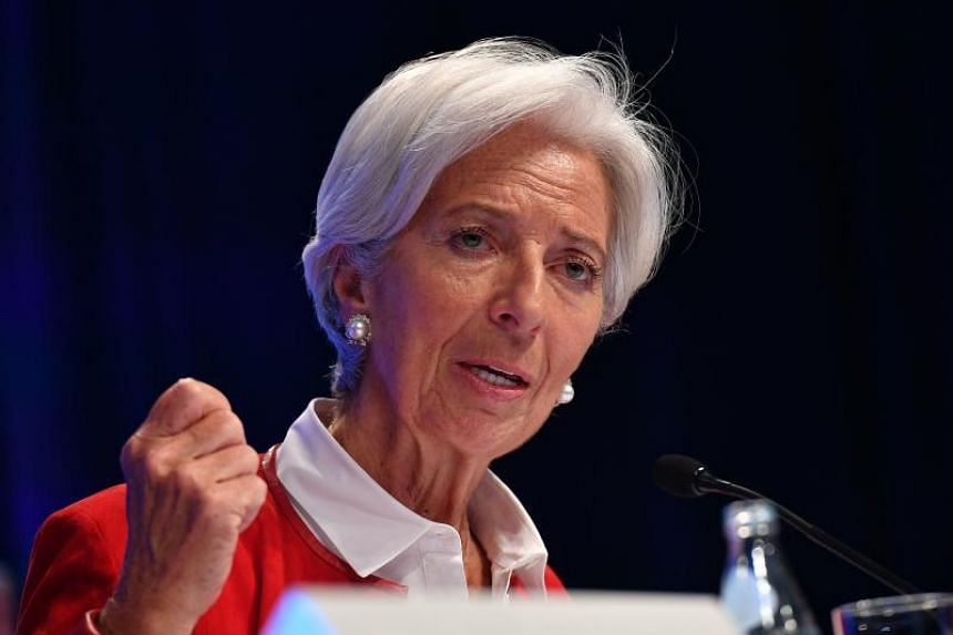 International Monetary Fund (IMF) Managing Director Christine Lagarde speaks during a press conference at the IMF Headquarters in Washington, DC on April 11, 2019.