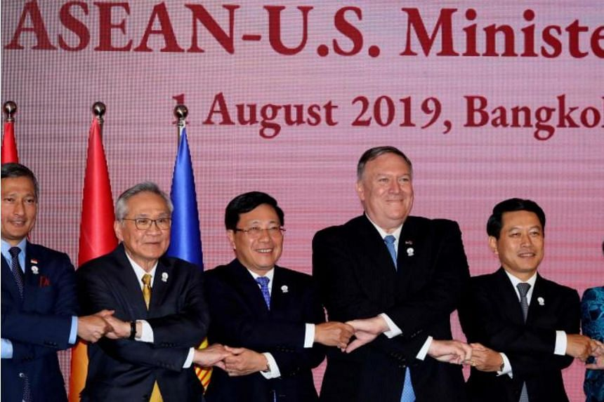 US Secretary of State Mike Pompeo poses for a photo with foreign ministers from Asean during the Asean-US Ministerial Meeting in Bangkok on Aug 1, 2019.