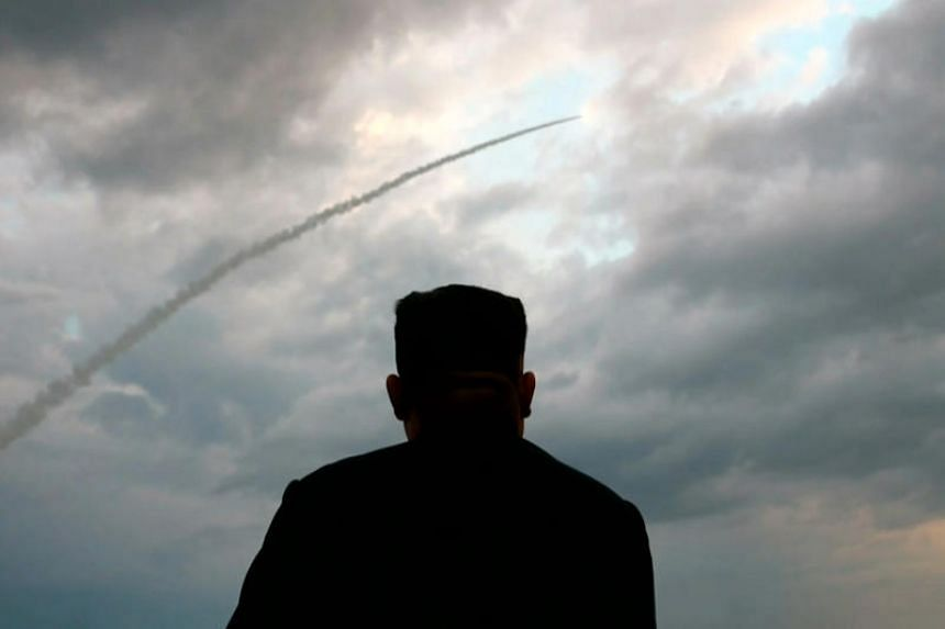Pictures carried by the North's state television showed a silhouette of North Korean leader Kim Jong Un watching the weapon rise into the sky.