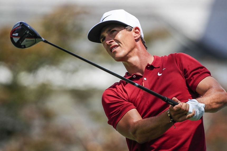 Thorbjorn Olesen of Denmark watches his tee shot on the sixteenth hole during the second round of the World Golf Championships.