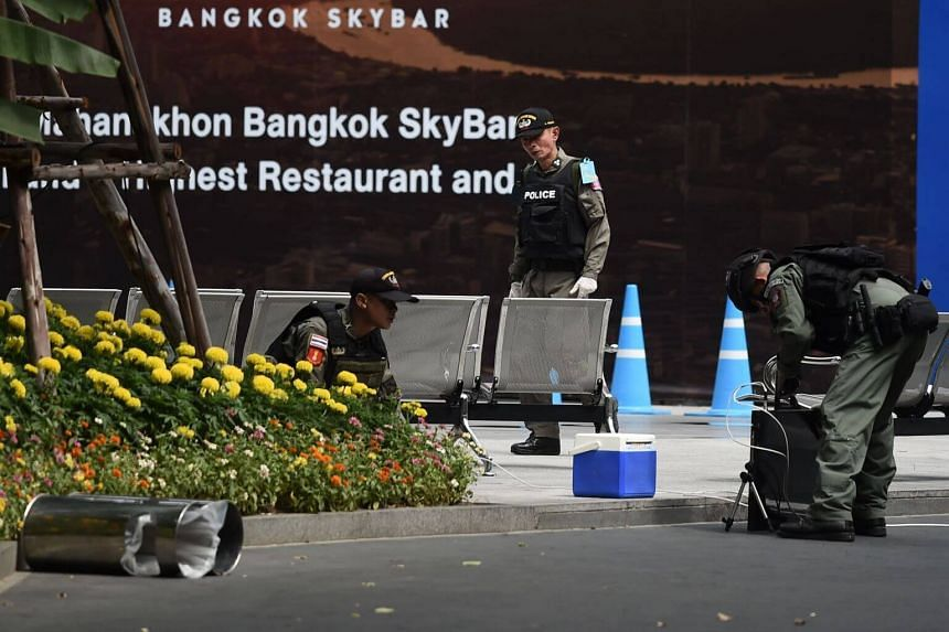 Police seen at the scene of an explosion in Bangkok on Aug 2, 2019.