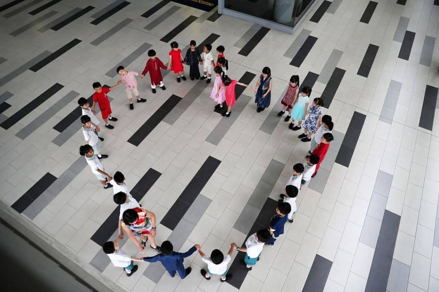 Students from Westwood Primary School celebrating Racial Harmony Day on July 22, 2019.