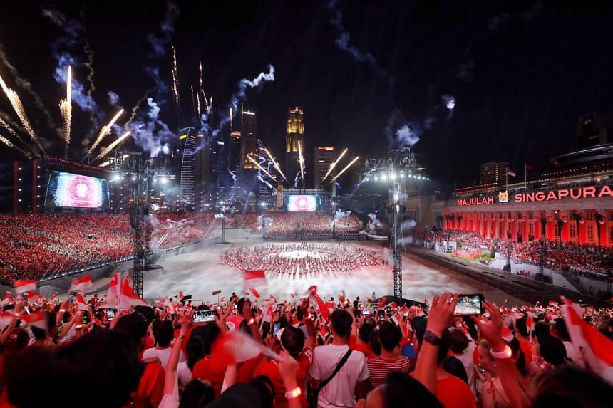 Fireworks at the National Day Parade Preview 1 held at the Padang on July 27, 2019.