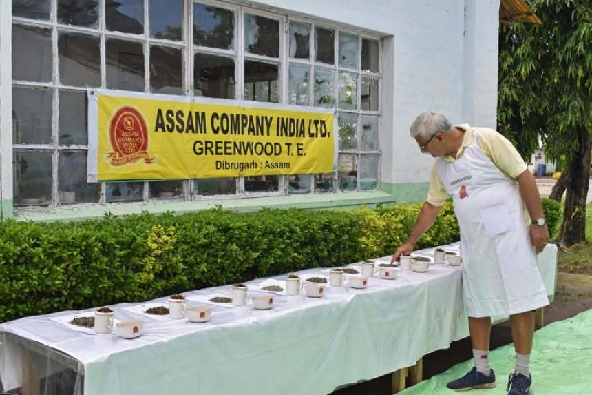 An employee arranging tea leaves for a tasting session in Dibrugarh, Assam, on July 31, 2019.