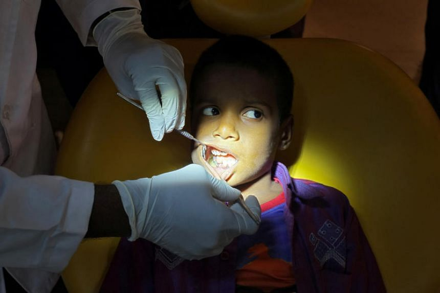 The boy's parents had noticed swelling in his jaw when he was three years old, but his condition remained undiagnosed because the abnormal teeth embedded in the jaw were not visible.