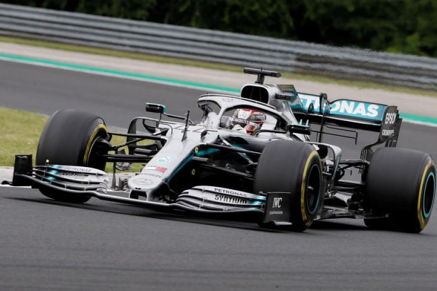 Mercedes' Lewis Hamilton lapped the Hungaroring with a best time of 1min 17.233sec under cloudy skies in the Hungarian Grand Prix first practice on Aug 2, 2019.