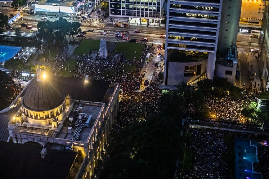 Hong Kong's civil servants are scheduled to gather for two hours at Chater Gardens, an urban park in the heart of the Central business district, on Aug 2, 2019.