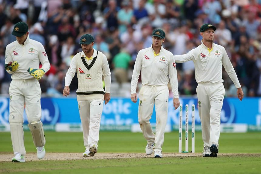 Australia's Matthew Wade, Steve Smith and Cameron Bancroft at the end of play on Aug 1, 2019.