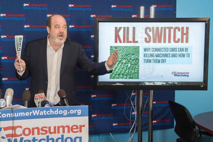 Jamie Court from the US Consumer Watchdog group releases their report on the vulnerability of internet connected cars to criminal hacking making them a national security threat, at their offices in Los Angeles on July 31, 2019.