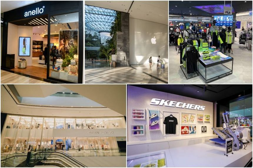 (Clockwise from top left) Anello Jewel Changi Airport, Apple Jewel Changi Airport, Fila Jewel Changi Airport, Skechers Jewel Changi Airport and Urban Revivo Jewel Changi Airport.
