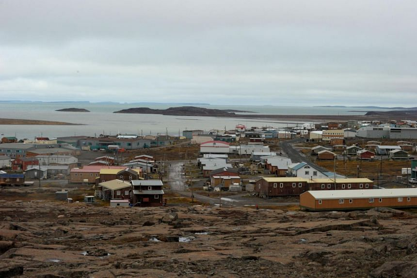 Houses are seen in the Inuit hamlet of Kugluktuk, Nunavut, Canada, located at the western gate of the Northwest passage, on Sept 17, 2015.