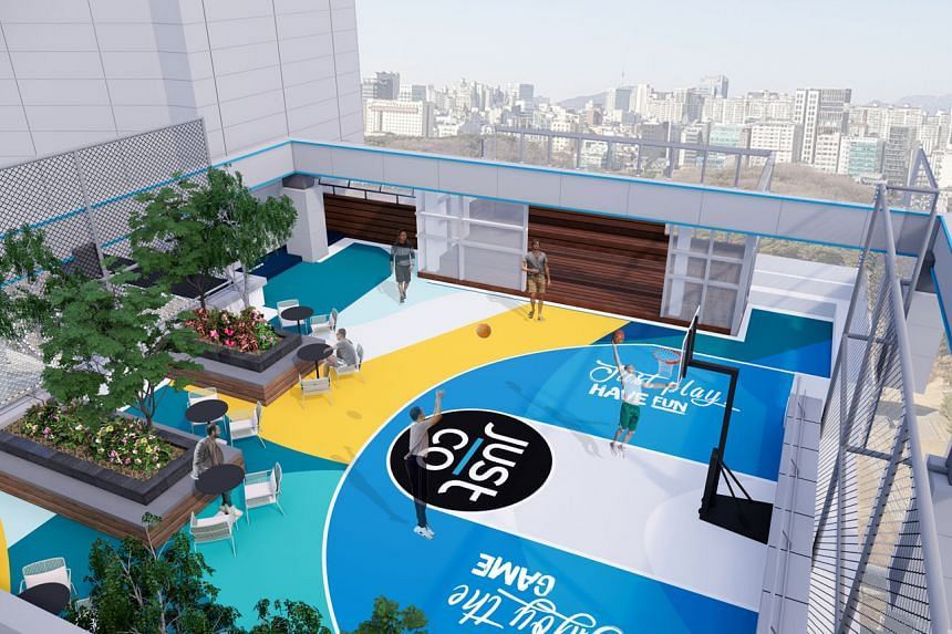 JustCo Tower will have amenities such as sleeping pod rooms, an in-house cafe and a multipurpose rooftop lounge (above). The 140,000 sq ft tower is targeted to open in November and is the company's fourth centre in South Korea in less than a year. PH