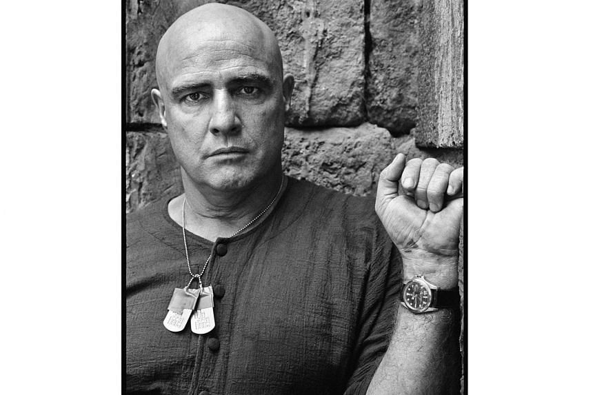 Marlon Brando (left, on the set of Apocalypse Now) inscribed M. Brando on his Rolex GMT-Master's case himself using an electric engraver pen.