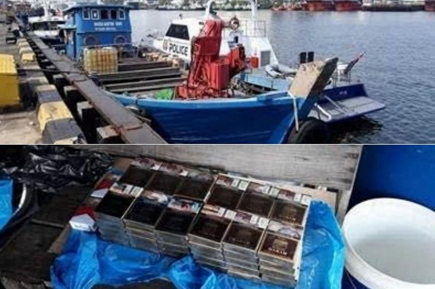 Officers from the Immigration and Checkpoints Authority and Police Coast Guard found 62 packets of duty-unpaid cigarettes hidden in various compartments of the boat during an inspection.
