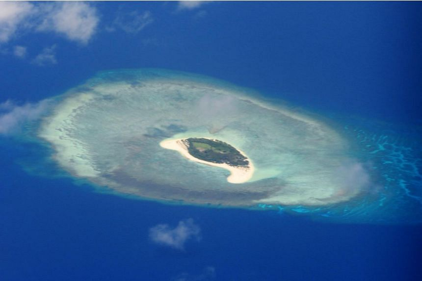 A reef in the disputed Spratly islands on the South China Sea, on April 21, 2017.