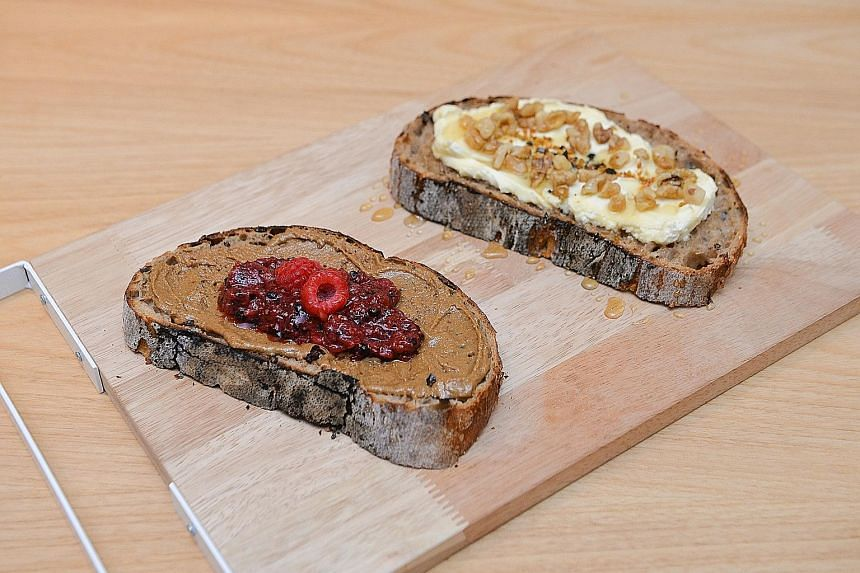 Open-face sandwiches at Starter Lab include Sunny PB&J (left) and honeyed mascarpone.