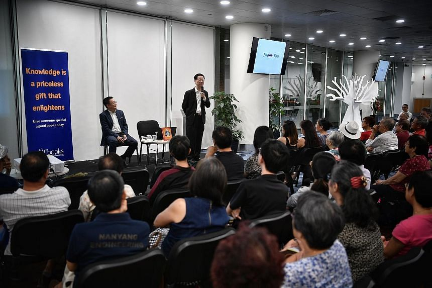 Soo Kok Leng speaking about his book, Think Wits Win: How To Use Sun Zi's Art Of War For Success, at the Straits Times Book Club in the National Library on Wednesday.
