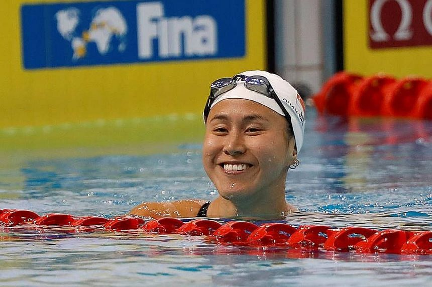 Quah Jing Wen set a 200m fly national mark of 2:11.38 in the heats while older sister Ting Wen (above) clocked 24.92 in the 50m free, going below 25sec for the first time.