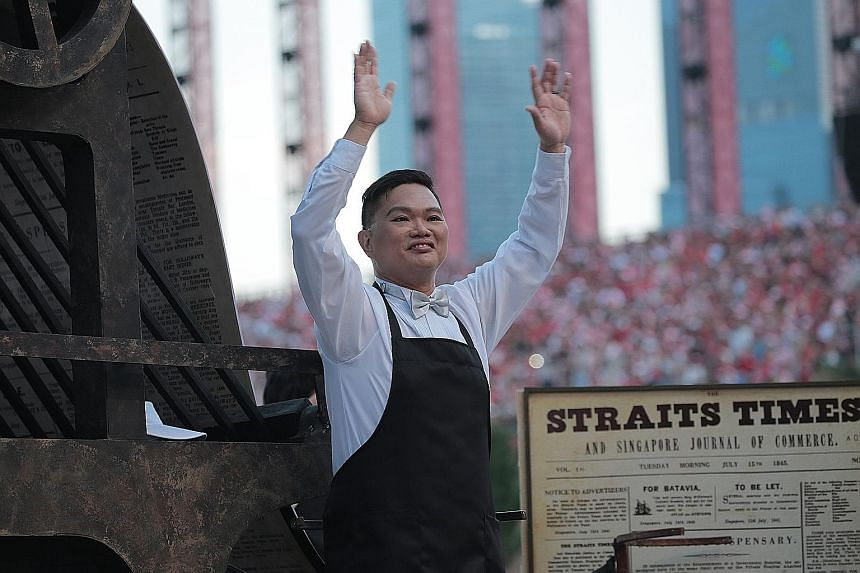 Mr Swee Kian Yang, representing The Straits Times, will be on a float with a traditional printing press displaying the first edition of the national paper.