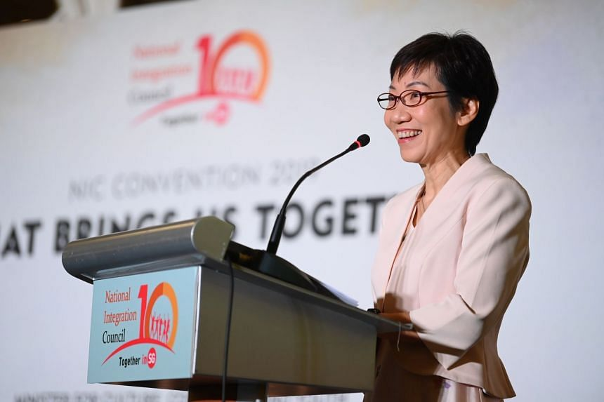 Minister for Culture, Community and Youth Grace Fu speaks at the National Integration Council Convention on Aug 3, 2019.