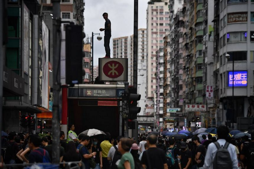 Protesters marching from Mong Kok to Tsim Sha Tsui on Aug 3, 2019.
