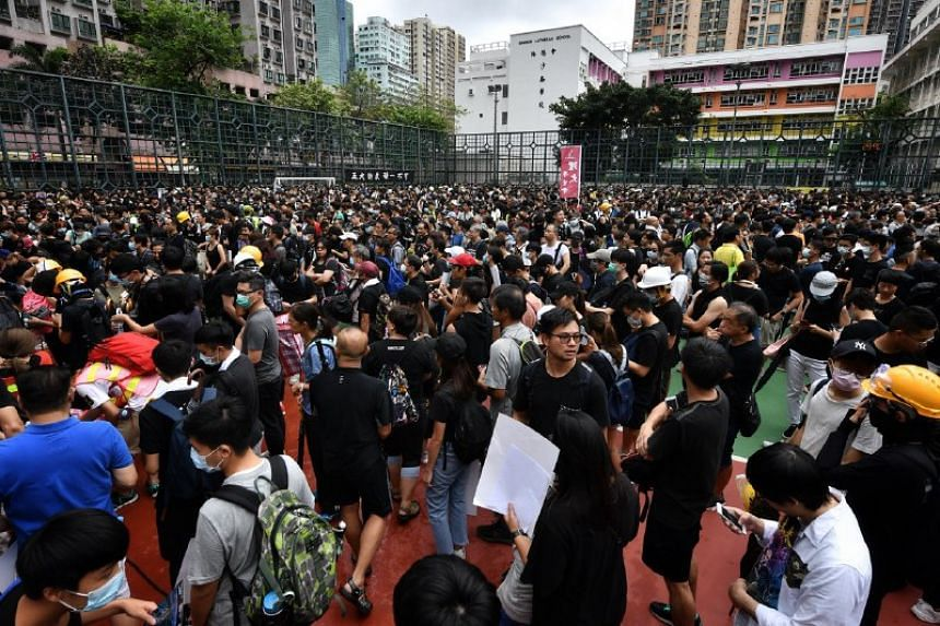 Protesters gather in Mong Kok before their march on Aug 3, 2019.