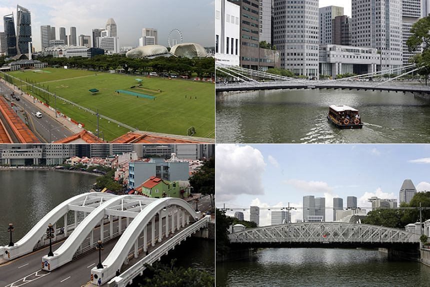 (Clockwise from top left) The Padang and the Cavenagh, Anderson and Elgin Bridges will be gazetted as national monuments.