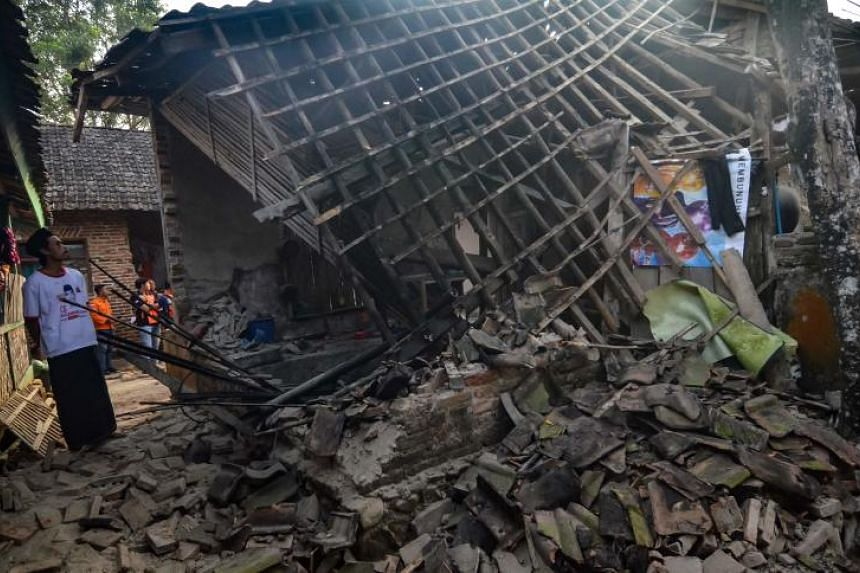 A house in Pandeglang in Indonesia's Banten province, damaged after a strong earthquake hit the area on Aug 2, 2019.